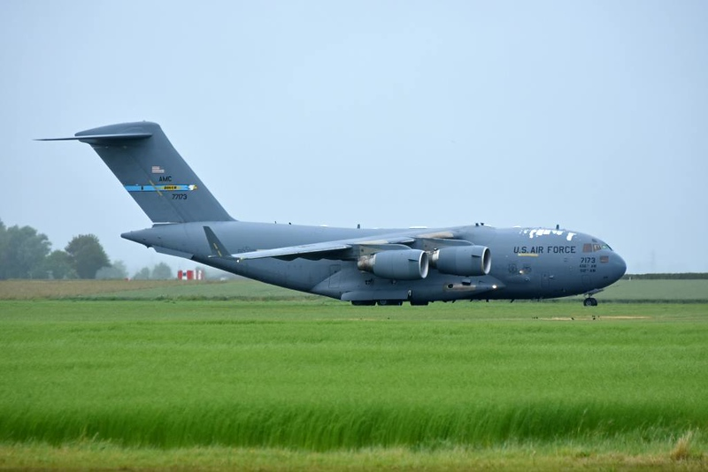 USAF Boeing C-17A Globemaster III 77173, Carpiquet airport, Caen, 7 June 2019 1 - 1616. ...and the third C-17 arrives.