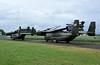 Folded US Marine Corps Bell Boeing MV-22 Osprey tiltrotors 10 & 06 / 168302, Carpiquet airport, Caen, 7 June 2019.