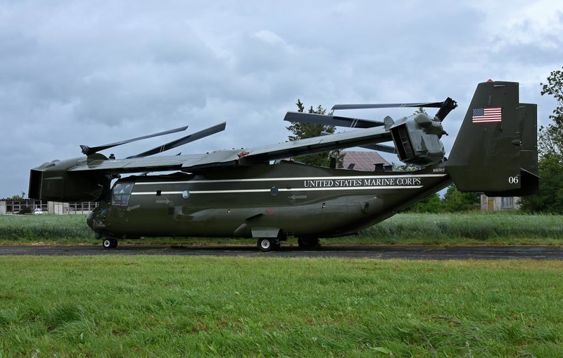 Folded US Marine Corps Bell Boeing MV-22 Osprey tiltrotor 06 / 168302, Carpiquet airport, Caen, 7 June 2019.