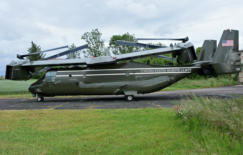 Folded US Marine Corps Bell Boeing MV-22 Osprey tiltrotor 09 / 168327, Carpiquet airport, Caen, 7 June 2019.