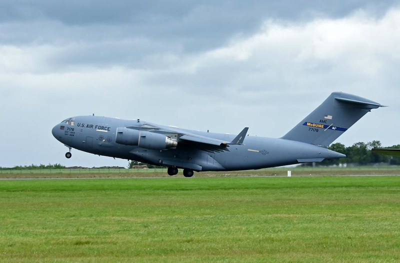 USAF Boeing C-17A Globemaster III 77178, Carpiquet airport, Caen, 7 June 2019 2 - 1526. The second C-17 departs...