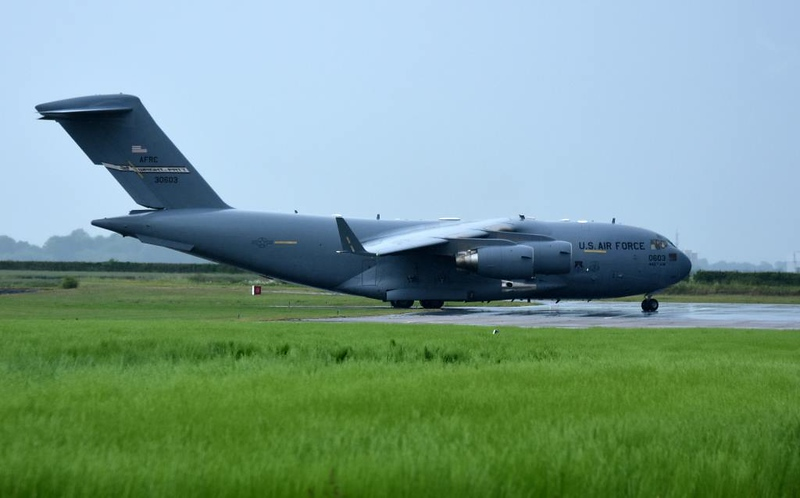 USAF McDonnell Douglas C-17A Globemaster III 93-0603, Carpiquet airport, Caen, 7 June 2019 1 - 0810.  The first of three C-17s to visit Carpiquet during the day.