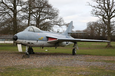 ex-Danish Air Force Hawker Hunter F.51, E-430 / 'XF418', on display outside - 19/02/17.