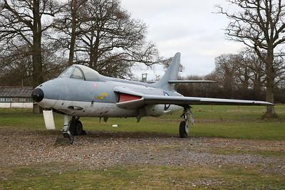ex-Danish Air Force Hawker Hunter F.51, E-430 / 'XF418', on display outside - 19/02/17.