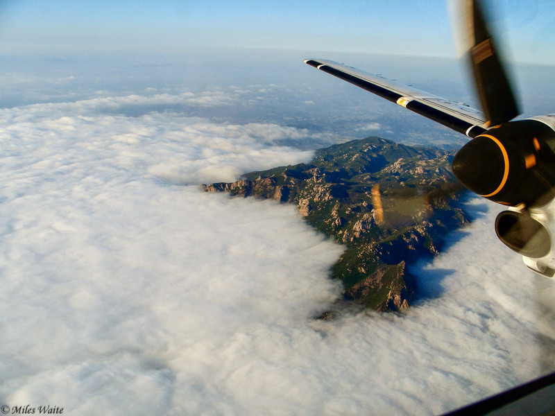 Fog Coming In<br /> Saab 340, just North of LA.