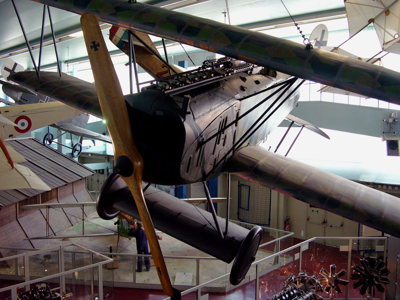 Fokker D.VII 679/18, Musee de l'air et de l'espace, Le Bourget, Paris, 10 May 2005 1.  Very successful fighter which entered service in May 1918.  Some 3,300 had been built by the end of the war on 11 November 1918, when some 775 were in service.  The Armistice required them all to be surrendered.  Several have been preserved, including the two seen here at Le Bourget and Hendon.