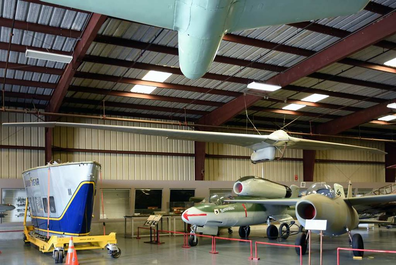 Advanced German aircraft of World War 2, Planes of Fame Museum, Chino, California, 3 May 2019.  German aviation technology led the world during World War 2, and here are thre examples.  The Horten brothers built this Ho IV flying wing glider in 1943.  Beneath it is a replica of the world's first jet aircraft, a Heinkel He 178 which first flew on 27 August 1939.  Britain's Gloster E.28/39 did not fly until until 15 May 1941.  Next to the 178 is an original Heinkel He 162A jet fighter built in 1944 - 45, one of a number captured at the end of WW2.  Partly visible at top is a Japanese Yokosuka MXY-7 Ohka rocket-propelled suicide attack aircraft.