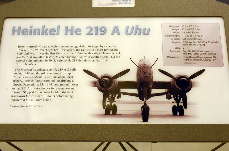 Heinkel He 219 290202, Smithsonian Udvar-Hazy air and space museum, Washington Dulles airport, 14 May 2017 1.  This is the sole survivor. The He 219 was very effective but only about 300 219 were built.