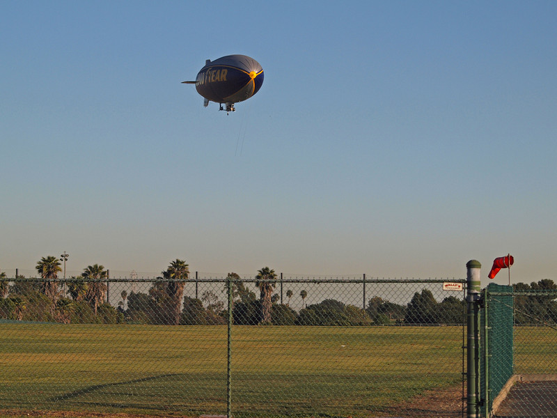 Goodyear Blimp N10A leveling off on Final - 12 Feb 2011