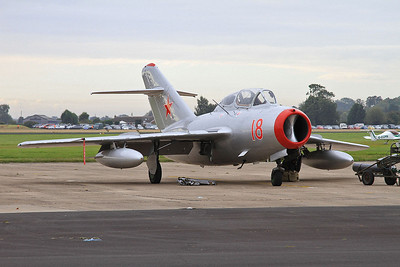 Mikoyan Gurevich MiG-15UTI, N104CJ (from the Norwegian Air Force Historical Squadron), for display later - 26/09/15.