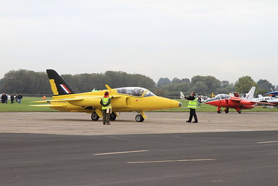 Folland Gnat T.1's, XR992 (G-MOUR) & XR538 (G-RORI), having just arrived - 26/09/15.