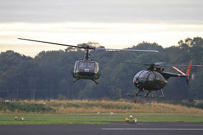 Bell UH1H Huey, 72-21509 (G-UH1H) & Hughes 369 OH-6A Loach, 69-16011 (G-OHGA), arriving - 26/09/15.