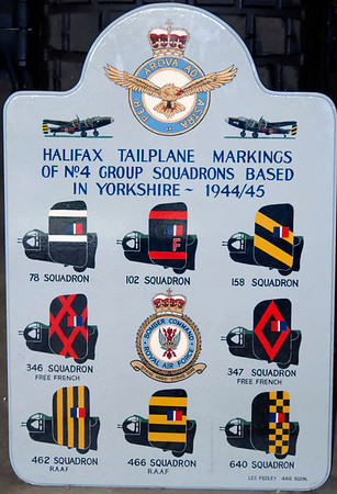 Halifax tailplane markings of No 4 Group squadrons based in Yorkshire, 1944-45, Yorkshire Air Museum, Elvington, 28 September 2007.