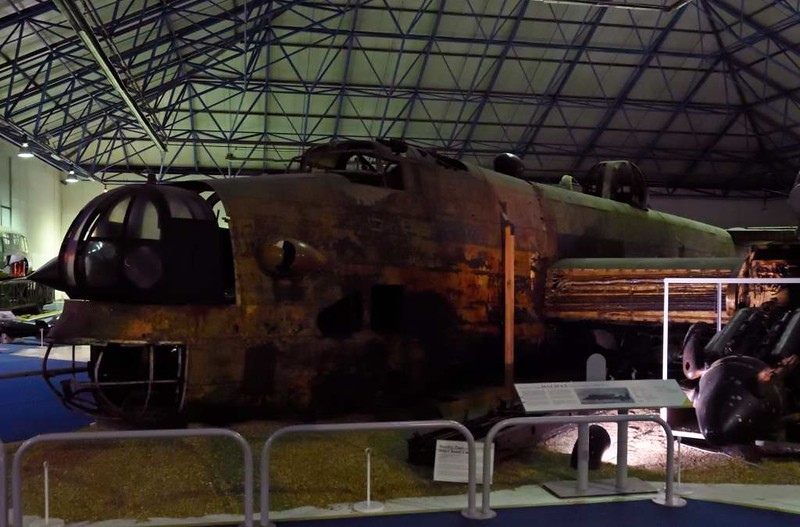 Handley Page Halifax II W1048, RAF Museum, Hendon, 10 September 2015 1.   This 35 Squadron Halifax was shot down on its first raid, on 23 April 1942 against the German battleship Tirpitz. Its crew landed it on a frozen Norwegian lake and all bar one escaped.  The aircraft sank to the lake bed, from which it was recovered in 1973 in the condition seen here (apart from the restored nose turret).