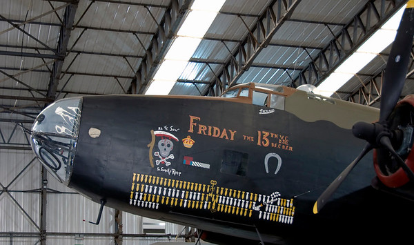 Handley Page Halifax II, Yorkshire Air Museum, Elvington, 28 September 2007 6.  The port side represents LV907 / NP-F 'Friday the 13th' of 158 Sqn.  The original aircraft completed no fewer than 128 operational missions, but did not survive the post-war scrap drive.