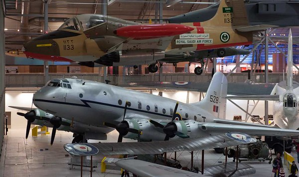 Handley Page Hastings T5 TG528, Imperial War Museum, Duxford, 31 December 2012 1.  147 Hastings transports / troop carriers were built, entering RAF service during the Berlin airlift in 1948.  Most had been retired by 1968 when they were replaced by the Lockheed Hercules.  Eight Hastings including this one were converted to T5 radar trainers.  The last T5s were retired in 1977.