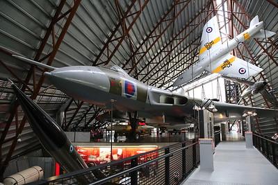 ex-RAF Avro Vulcan B.2, XM598 & Hawker Hunter T.7A XL568, on display, RAF Museum, Cosford - 19/04/17.