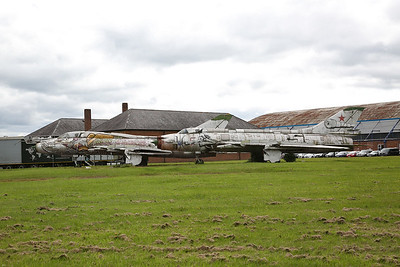 ex-Russian Air Force Sukhoi Su-17 'Fitters', 'Red 35' & 'Red 54', languishing in the 'Aviation Park' - 13/06/17.