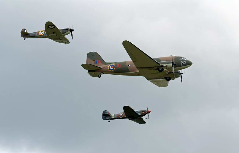 Hawker Hurricane IIC PZ865 JX-E, Flying Legends airshow, Duxford, 13 July 2008 4.  Seen with Dakota ZA947 & Spitfire IIa P7350 in a BBMF formation.