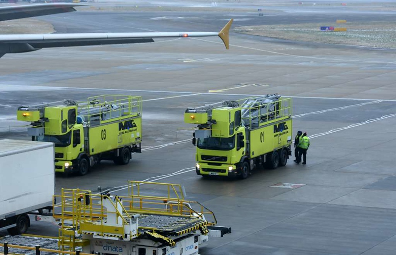 Aero Mag de-icing trucks, Heathrow airport, Fri 2 March 2018 - 0909.  My trip coincided with a very cold snap dubbed the 'beast from the east', and the trucks had just finished de-icing Etihad Airbus A380-800 A6-APA.  This and the following aircraft photos were taken from View Heathrow inside terminal 4.