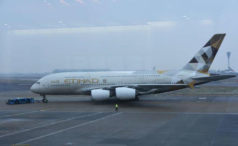Etihad Airbus A380-800 A6-APA, Heathrow airport, Fri 2 March 2018 1 - 0930.