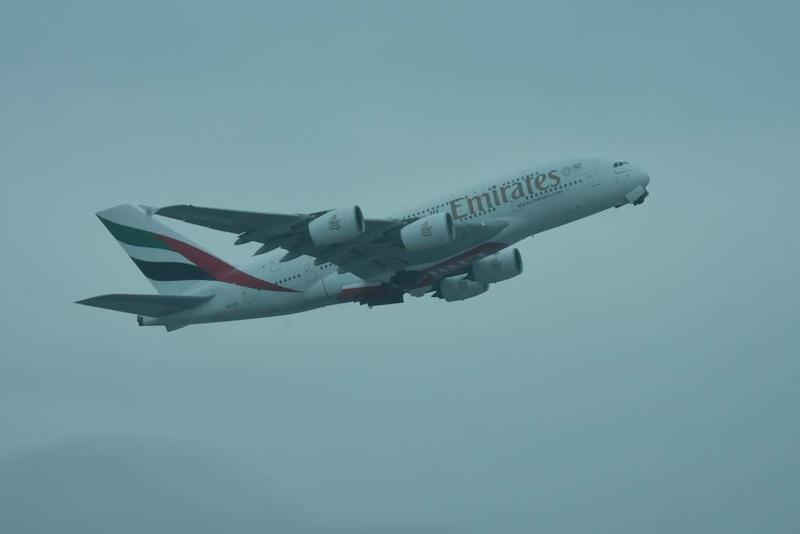 Emirates Airbus A380-800 A6-EOS, Heathrow airport, Fri 2 March 2018 - 0949.
