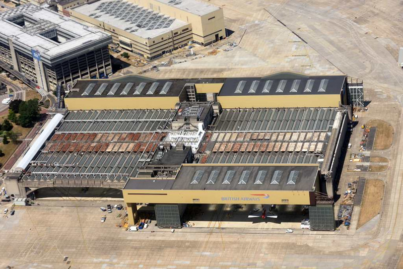 British Airways hangar, Fri 3 July 2015 - 1420.  Photographed from inside British Airways Airbus A320-200 G-EUUT.