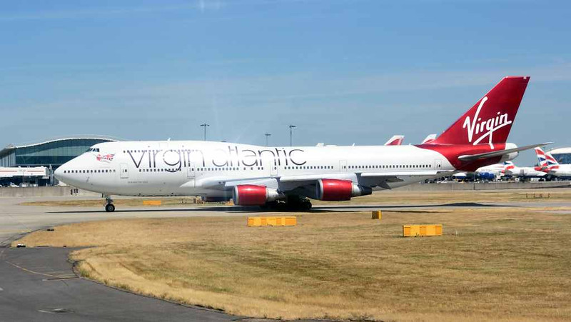 Virgin Atlantic Boeing 747-400 G-VROC Mustang Sally, Heathrow airport, Fri 3 July 2015 - 1418.  Photographed from inside British Airways Airbus A320-200 G-EUUT.