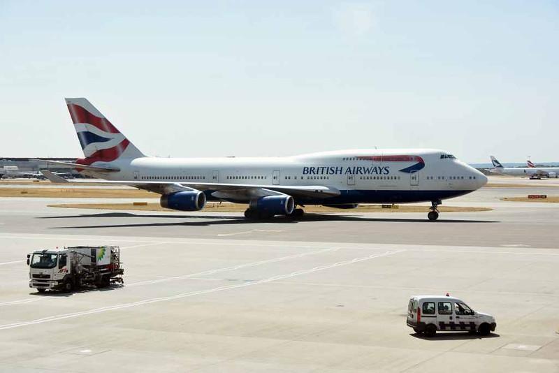 British Airways Boeing 747-400 G-CIVH, Heathrow airport, Fri 3 July 2015 - 1128.  Photographed from inside terminal 3.