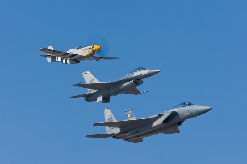 """P-51 D """"Little Horse""""<br /> F-16 Fighting Falcon<br /> F-15E Strike Eagle"""