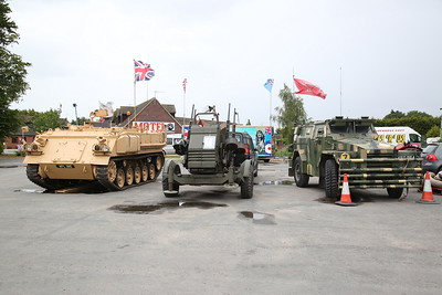 ex-British Army FV432 Armored Personnel Carrier (used in Iraq conflict), KFL311G .... an anti aircraft gun .... and an ex-British Army Humber Pig Armoured truck, in the Car Park of Anglia Motel / cafe on the A17 at Fleet Hargate - 17/06/18