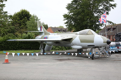 Ex-RAF Hawker Hunter F.1, WT680, in the Car Park of Anglia Motel / cafe on the A17 at Fleet Hargate - 17/06/18
