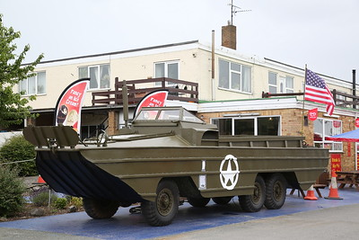 WWII 'DUCK' amphibious personnel carrier, newly restored, in the Car Park of Anglia Motel / cafe on the A17 at Fleet Hargate - 17/06/18