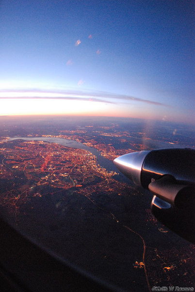 Looking south over the City of Liverpool, River Mersey, Wallasey, River Dee & beyond from about 16,000 feet.