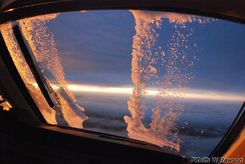 Windshield ice melts in the descent