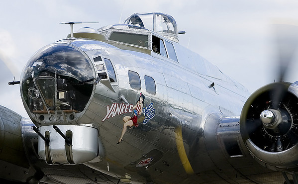 "The Boeing B-17G Flying Fortress ""Yankee Lady"" taxis to parking."