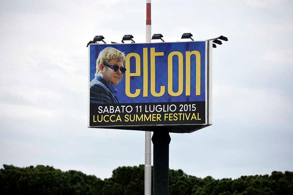 Elton John poster, Pisa airport, 19 April 2015