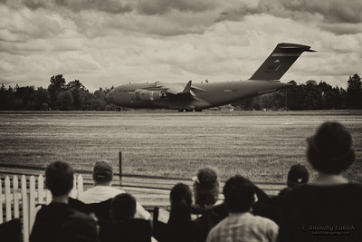 TACOMA, WA - JULY 21: Boeing C-17 Globemaster III aircraft demonstration during Air Expo at McChord Field Joint Base Lewis-McChord on July 21, 2012 in Tacoma, WA.