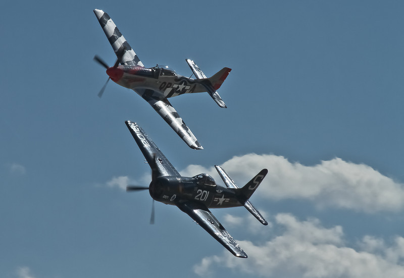 Heritage Flight P-51 and F-8F Formation<br /> 2011 Jacqueline Cochran Air Show