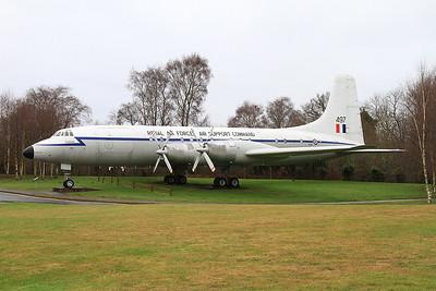 ex-RAF Bristol Britannia C.1, XM497, on display at the entrance to the RAF Museum, Cosford - 16/01/17.