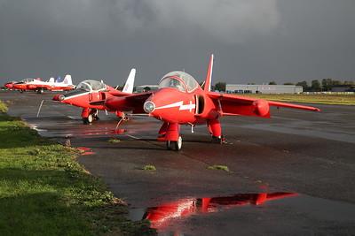 ex-RAF Folland Gnat T.1, XR538 / G-RORI & ex-RAF (Red Arrows for a time hence the livery) Folland Gnat T.1, XR537 / G-NATY - 27/09/19