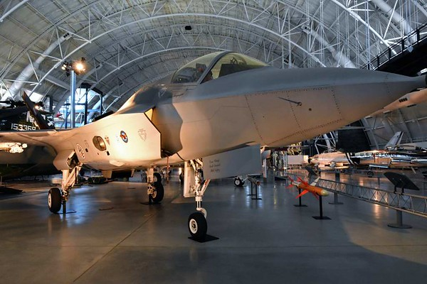 Lockheed Martin X-35B 301, Smithsonian Udvar-Hazy air and space museum, Chantilly, Virginia, 14 May 2017 1.  STOVL version of Lockheed Martin's successful contender in the 2001 Joint Strike Fighter competition for a single engine, stealthy, multirole aircraft.  Subsequently developed into the F-35 Lightning II.  The UK plans to order 135 STOVL F-35Bs for the RAF and Royal Navy, who will use them on the new Queen Elizabeth class aircraft carriers.