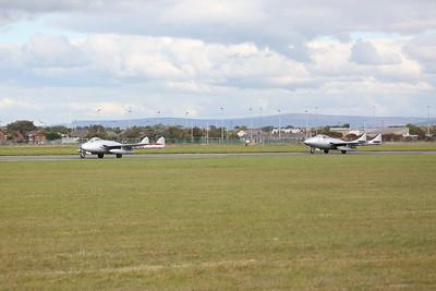 Norwegian Airforce Historical Squadron De Havilland Vampire FB.52, PX-K / LN-DHY & De Havilland Vampire T.55, PX-M / LN-DHZ, taking off - 17/09/17