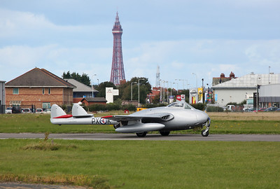 Lancaster & Vampires at Blackpool Airport, 17th September 2017
