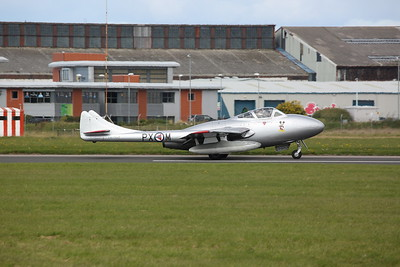 Norwegian Airforce Historical Squadron De Havilland Vampire T.55, PX-M / LN-DHZ, taxiing for take off - 17/09/17