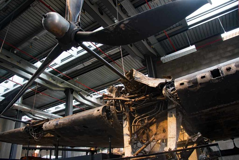 Avro Lancaster BIII JA914 / DX-O, German Technical Museun, Berlin, 5 June 2016 1.  This 57 Squadron aircraft took off from East Kirkby, Lincolnshire, and was shot down by a Focke-Wulf Fw 190 night fighter just after midnight on Saturday 4 September 1943 during the first attack in Bomber Command's winter campaign against Berlin. The Lancaster crashed into Wunsdorfer See near Zossen south of Berlin.  The crew of seven - four British, two Australian and a Canadian - all lost their lives.  Three are buried in the Berlin 1939 - 1945 Commonwealth War Cemetery.  The others are commemorated on the Runnymede memorial to the missing.  Most of the starboard wing, undercarriage and part of the fuselage were recovered in 1997.  Here are eight views.