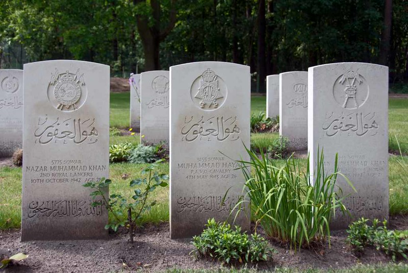 Berlin 1939 - 1945 Commonwealth War Cemetery, Berlin, 4 June 2016 12.  Three of the 50 Indian graves.