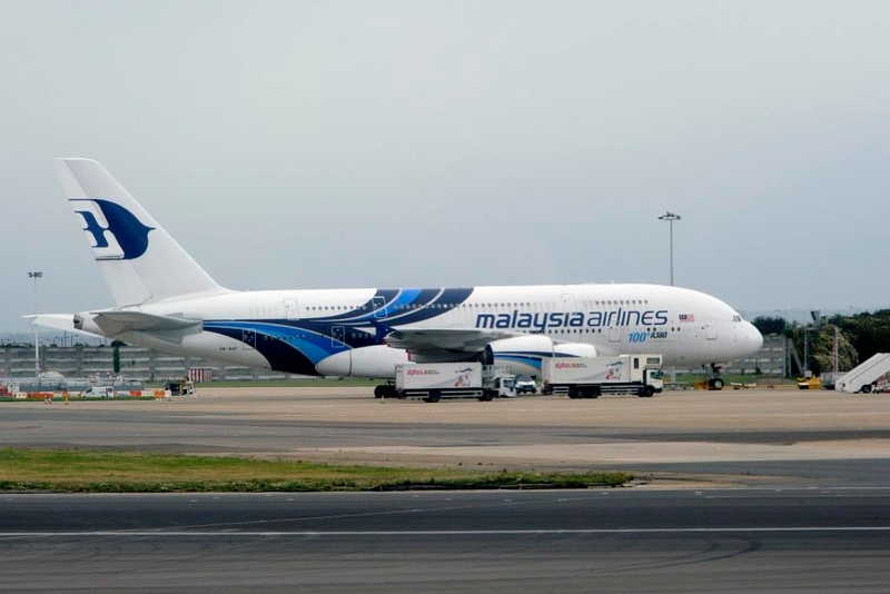 Malaysia Airlines Airbus A380-800 9M-MNF, Heathrow Airport, Fri 29 August 2014 - 0954.