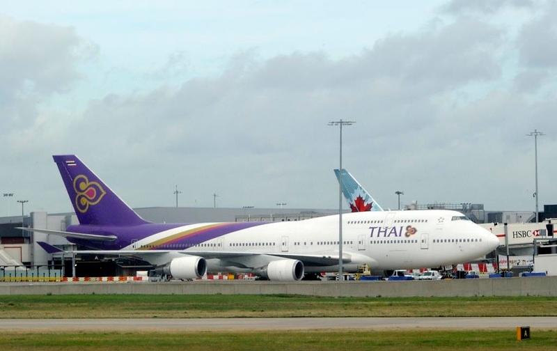 Thai Airways Boeing 747-400 HS-TGY, Heathrow Airport, Fri 29 August 2014 - 1006.