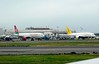 Kenya Airways Boeing 777-200 5Y-KYZ & unidentified Royal Brunei Boeing 787-9, Heathrow Airport, Fri 29 August 2014 - 0955.